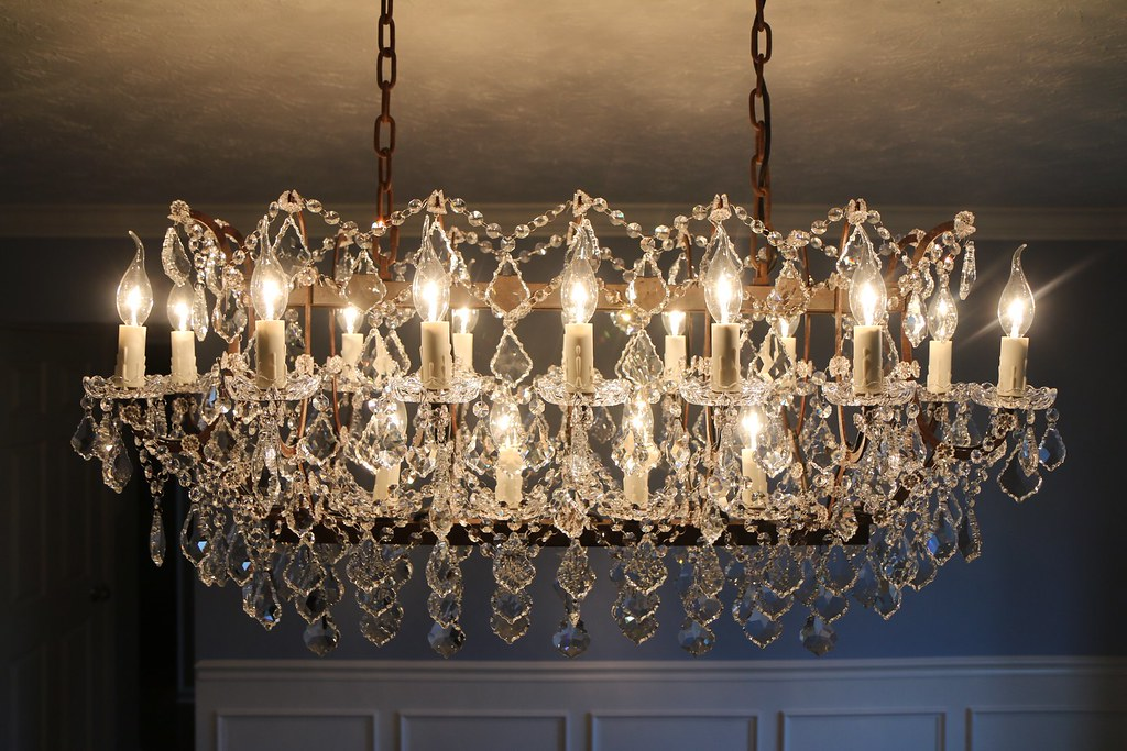 Restoration Hardware 19th C Rococo Iron Clear Crystal Rectangular 40 Chandelier
