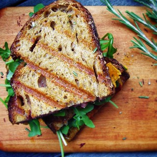 grilled sharp cheddar cheese panini with cranberry mustard and arugula | by Jackie Newgent RDN, CDN