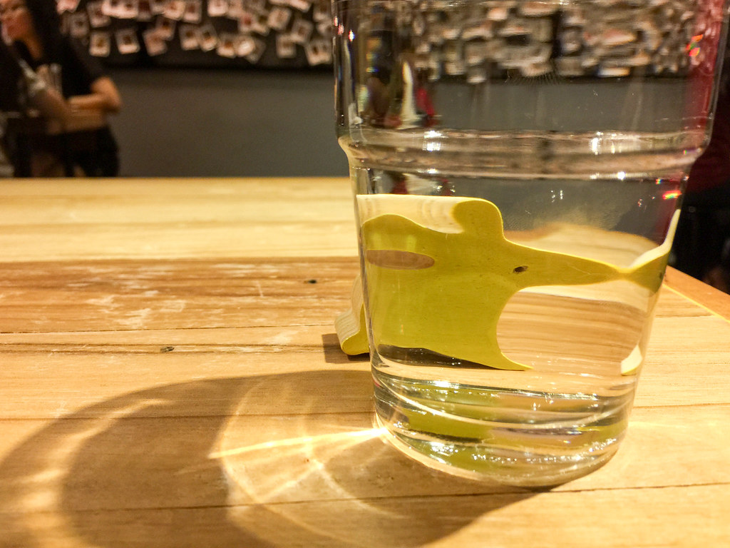 The rabbit behind the free glass of drinking water at P.S. Tokyo