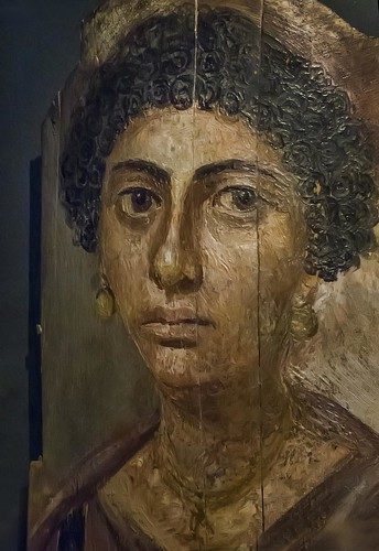 Encaustic Mummy Portrait Of A Woman With Earrings Egypt Ro