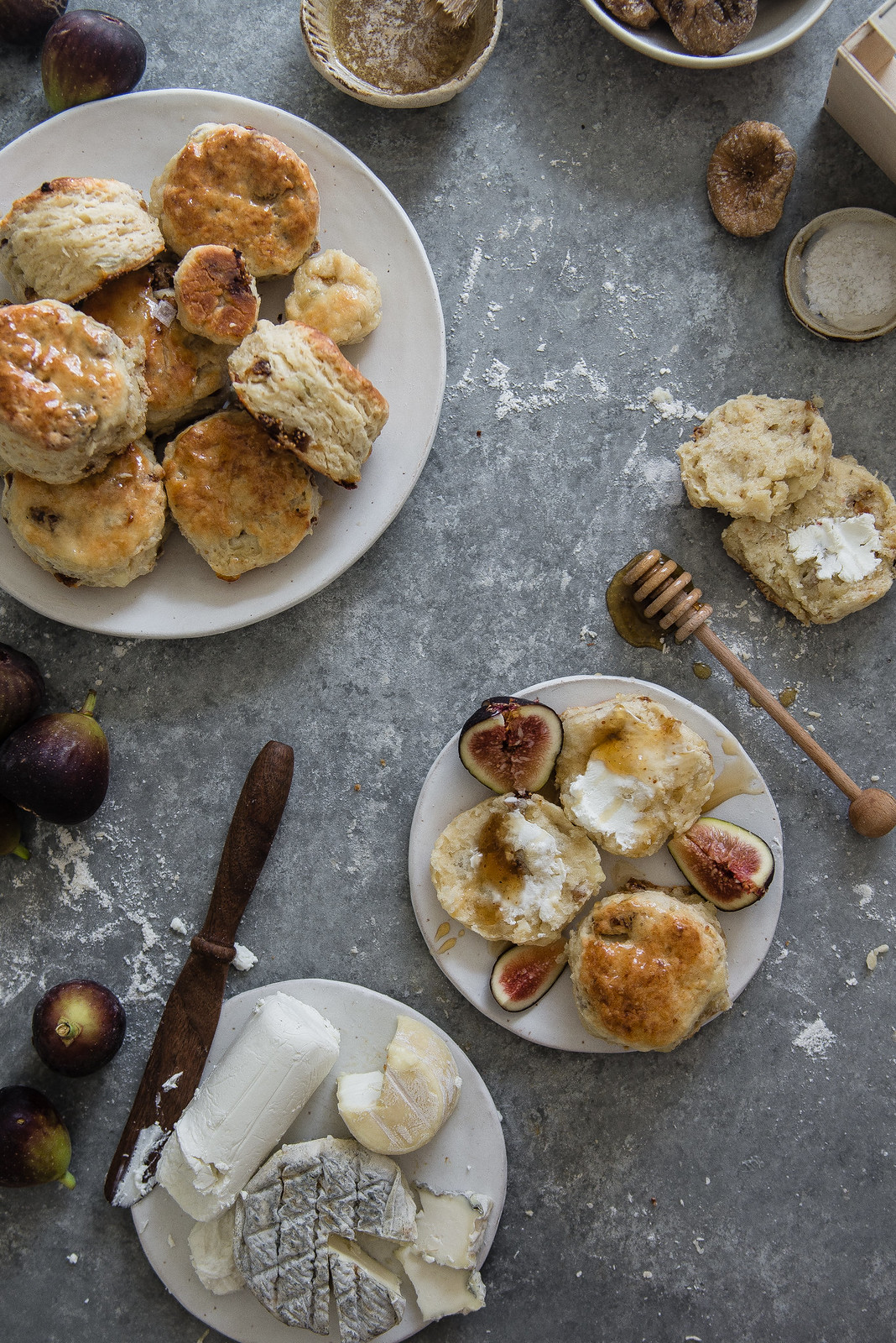 fig, goat cheese, & honey biscuits | two red bowls