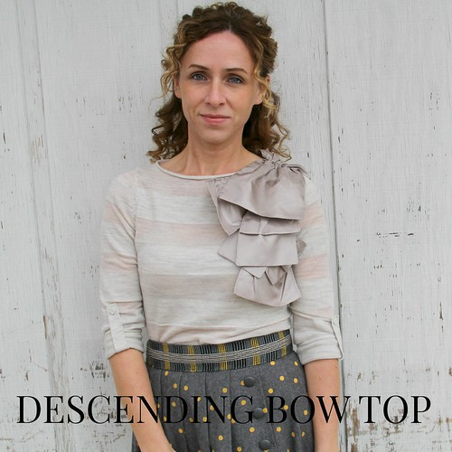 how to make the anthropologie shoulder bow top tutorial via Kristina J blog | by KristinaJ.