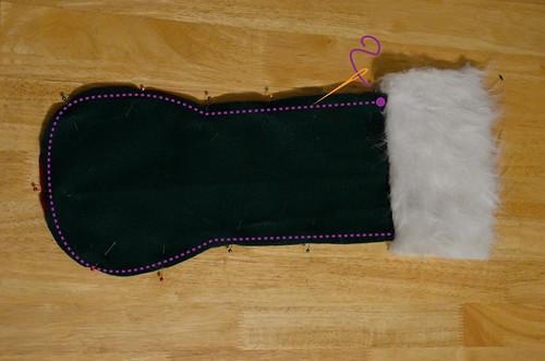 Step 7 & 8: Pin & Sew Stocking Edges