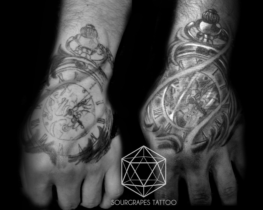 Old Pocketwatch Black And Grey Hand Tattoo A Collection Of Flickr