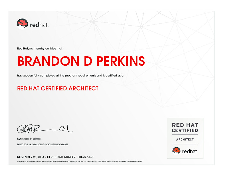 RED HAT CERTIFIED ARCHITECT | Red Hat,Inc. hereby certifies … | Flickr