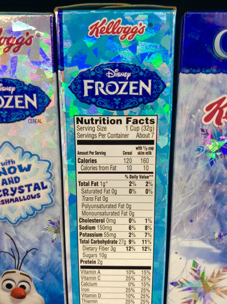 Total Cholesterol Chart: Disney Frozen Kellogg7s Kid7s Breakfast Cereal nutrition u2026 | Flickr,Chart