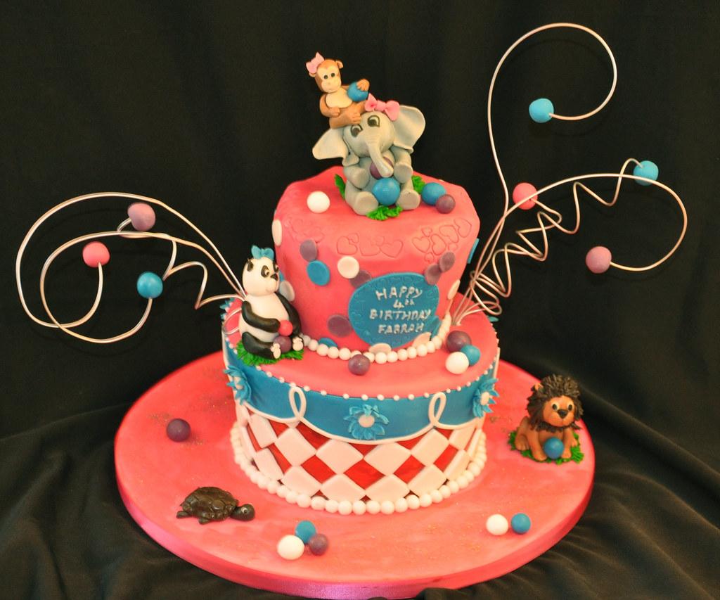 Wonky Animal Birthday Cake Animal Zoo Birthday Cake Flickr
