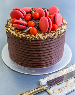 Jaffa Layer Cake with Macarons | by raspberri cupcakes