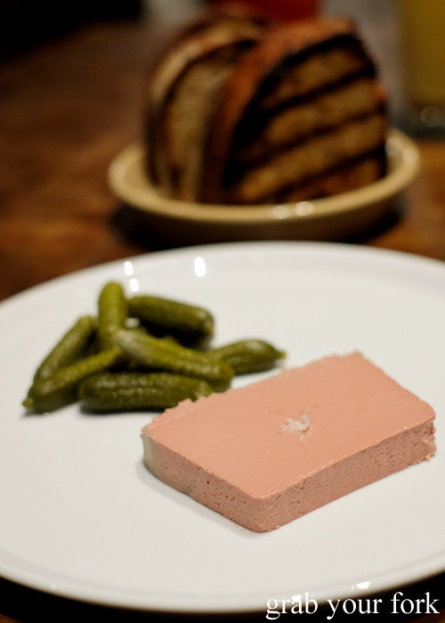 Foie gras parfait, cornichons and toast at Mercado restaurant, Sydney