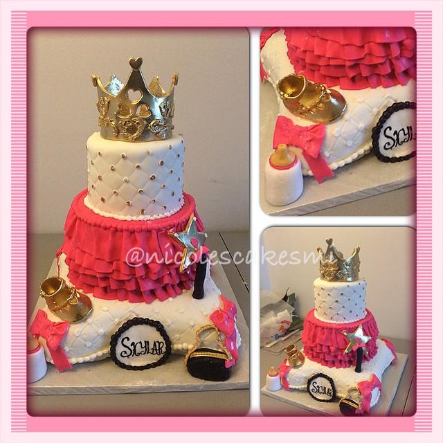 #nicolescakesmi #detroitcakes Royal Princess Baby Shower Cake. All Fondant  100% Edible. #nicolescakesmi #detroitcakes