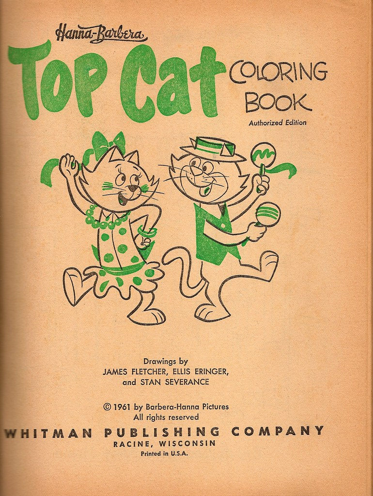 Top Cat Coloring Book Page Whitman 1961