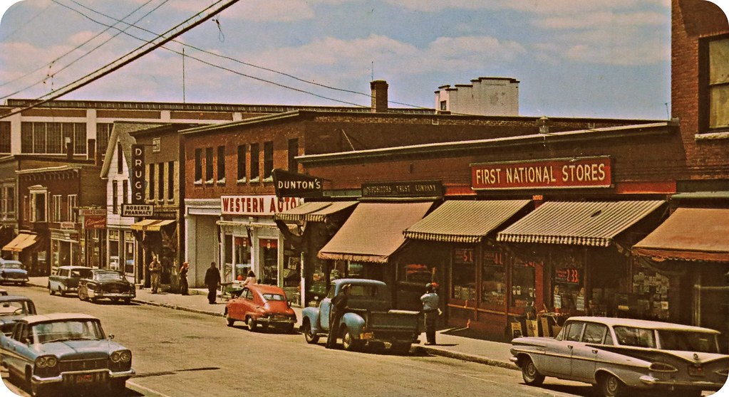 Downtown Lisbon Falls, Maine 1960 - Western Auto - First N… | Flickr