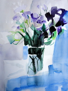 White and purple flowers in vase, homage to Zhao Zhiqiang, by Catie - DSC08342 | by Dona Minúcia