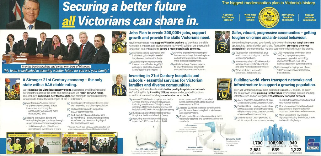 Liberal Party Policy Brochure 2014 Victorian Election – Election Brochure