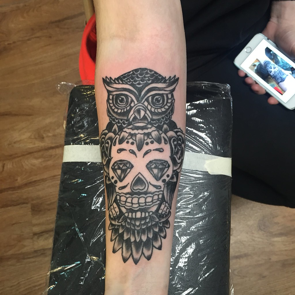 Owl And Sugar Skull Tattoo By Keelhauled Mike Of Black Anc Flickr
