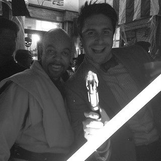 The Doctor & Mace Windu meet in a bar… @@robominister #doctorwho @scifipartyline #Halloween | by scifipartyline