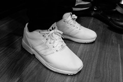 Adidas Zx Flux All White On Feet