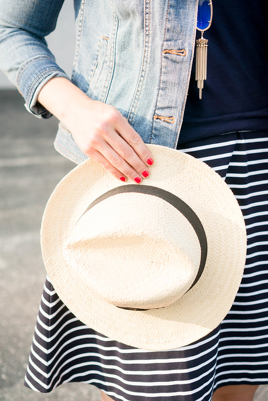 navy and white stripe skirt + navy tee + jean jacket; casual summer outfit | Style On Target
