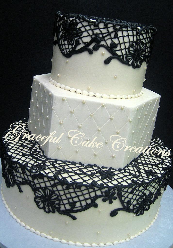 Elegant Black Lace Wedding Cake Grace Tari Flickr