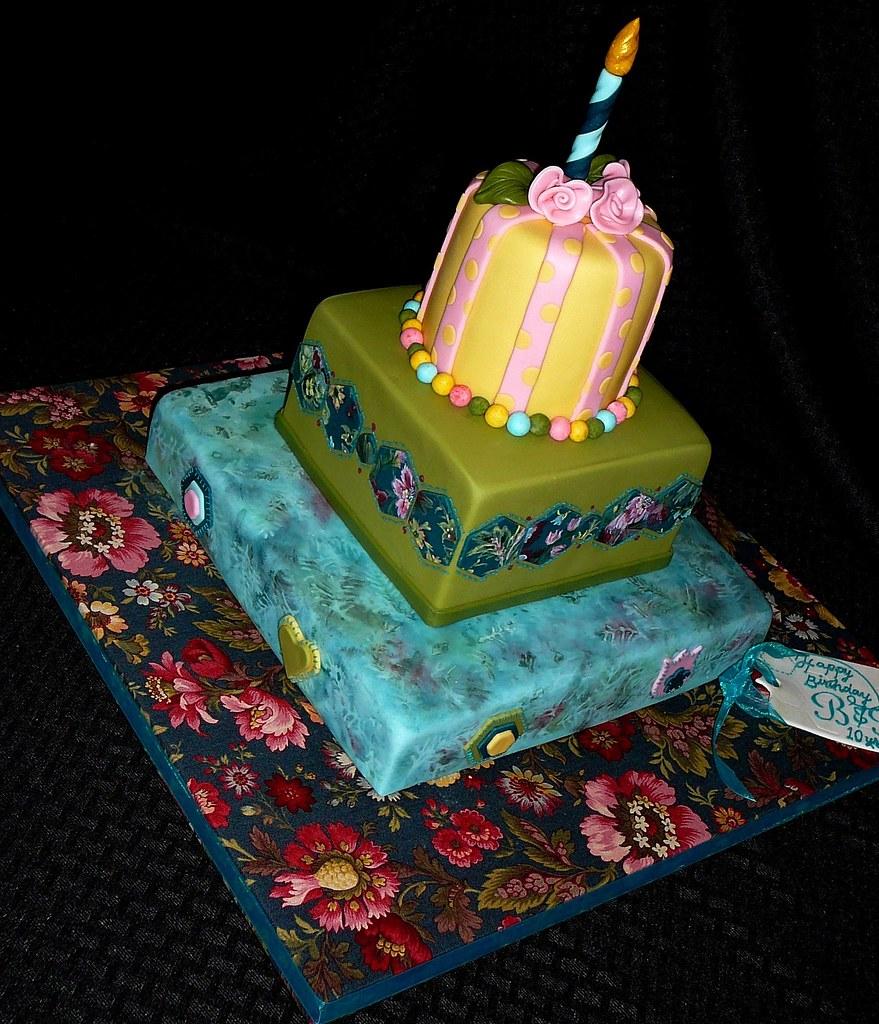 Floral Batik Birthday Cake Cake Doctor LLC Lise R Bonin PhD