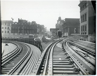 Track at North Station (Shuttle platform at North Station for Atlantic Avenue trains with connecting steelwork to Lechmere viaduct; never used) | by City of Boston Archives