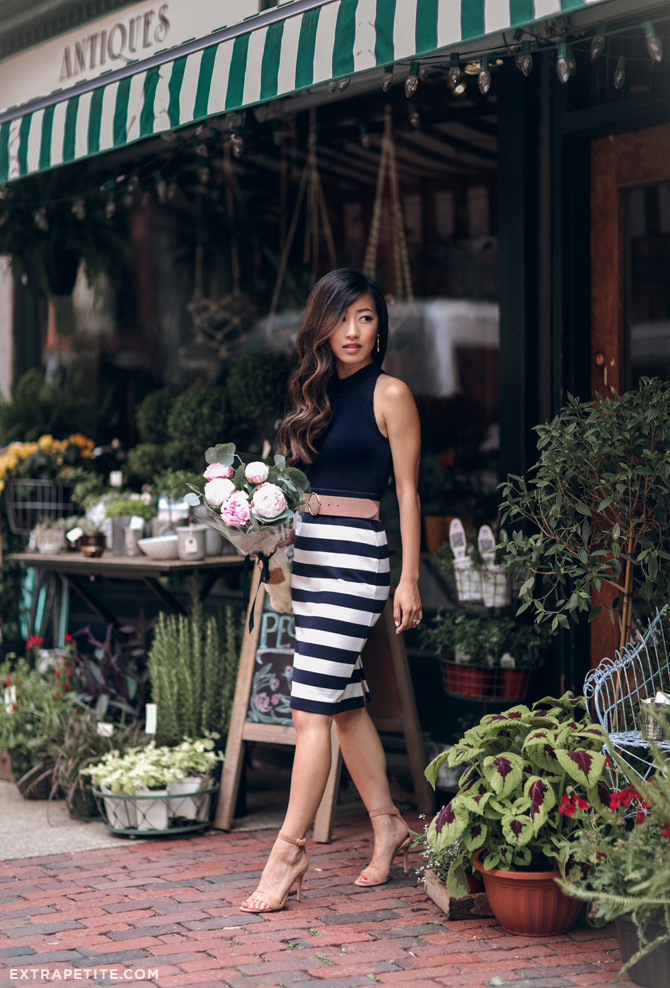 boston beacon hill classic outfit stripe pencil skirt