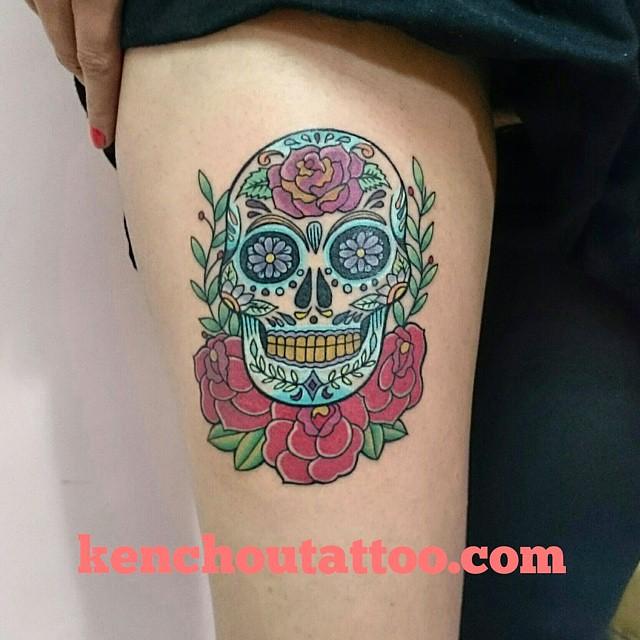 Tattoo Calaveras Con Rosas On Leg En Tattoo Bogota China Flickr
