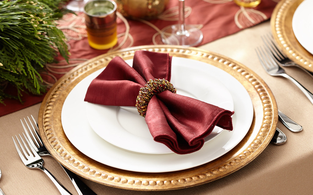 Thanksgiving table setting with napkin, napkin ring silver… | Flickr