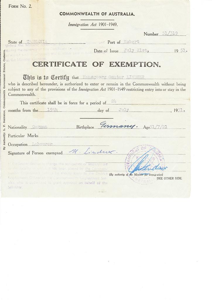 Immigration-exemption-Lindner-21st-July-1951 | Certificate o… | Flickr
