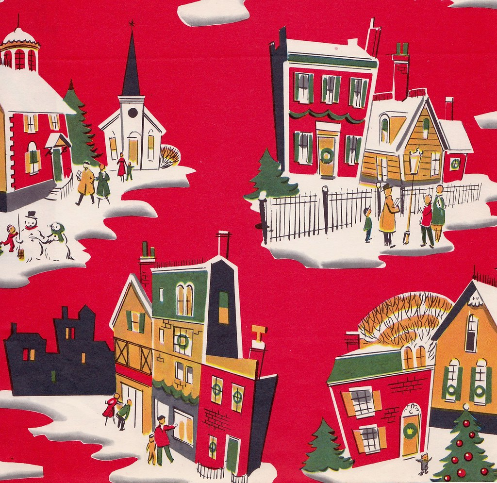 vintage christmas wrapping paper mid century town by hmdavid - Vintage Christmas Wrapping Paper