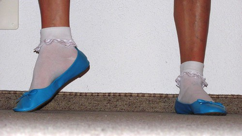 sky blue leather ballet flats and white frilly socks clo