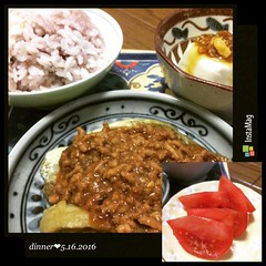 all kinds of spicy❤︎and some slices of tomato  #dinner #japan #spiceoil #tofu #spicypork #eggplant #tomato #rice