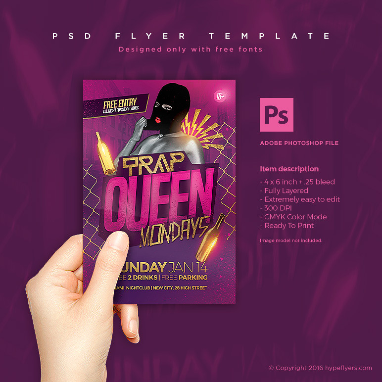 Trap Queen Party Flyer PSD Template | DOWNLOAD PSD FLYER HER… | Flickr