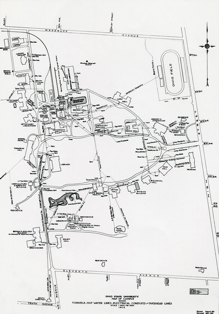 Ohio State Map Campus.1912 Campus Map Ohio State University Campus Map Tunnels Flickr