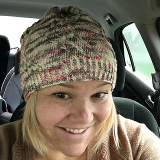 Haven't recorded this week because I haven't had a voice, but I have been knitting. I'm sporting a new hat (look for the pattern soon by @hunterhammersen) on this chilly day. I need to get another skein of this yarn from @the_lemonade_shop to knit a match | by Sarah Shoo