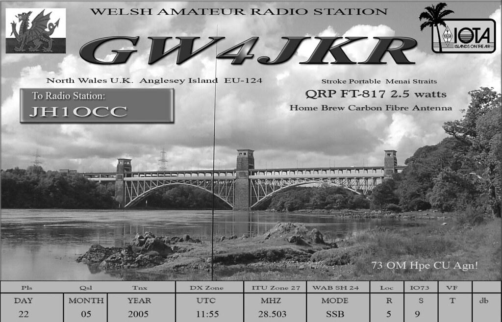gw4jkr qsl card menai straits qrp portable 2005 by pwllgwyngyll