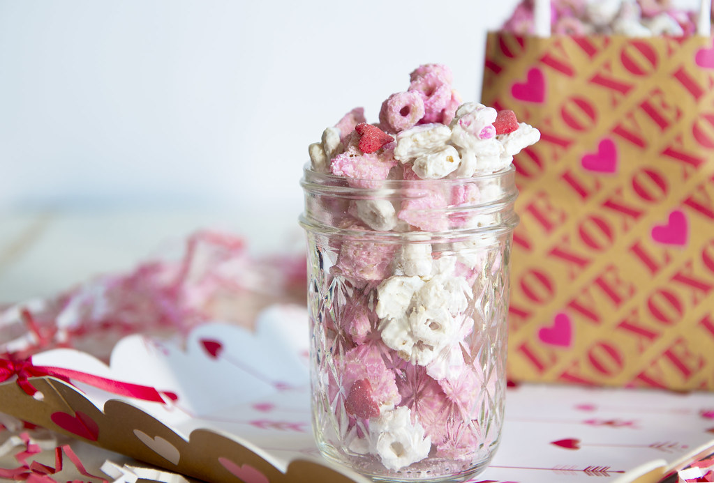 cherry vanilla snack mix for valentines day with candy melts cheerios rice chex mms sixlets heart