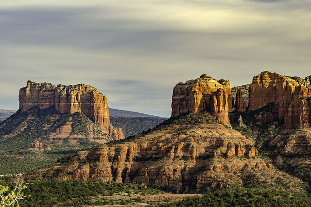 tight crop of Courthouse Butte and Cathedral Rock