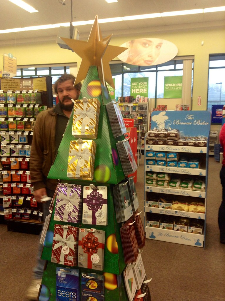 gift card display christmas tree design at rite aid 2014 pic by mike