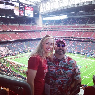 OU-Houston; Before the loss, before I got beer spilled on my twice by foul-mouth Houston fans, before Will nearly lost his religion on said fans...before all that? Smiles of anticipation for a win 😂 | by brittny_lynne
