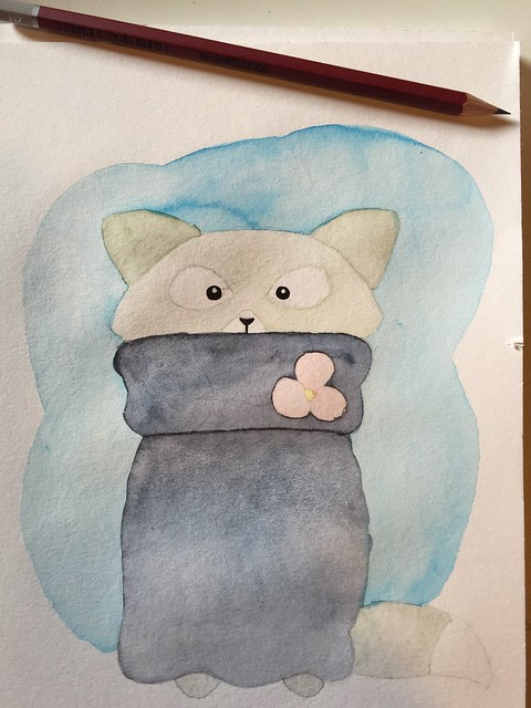 cat watercolour