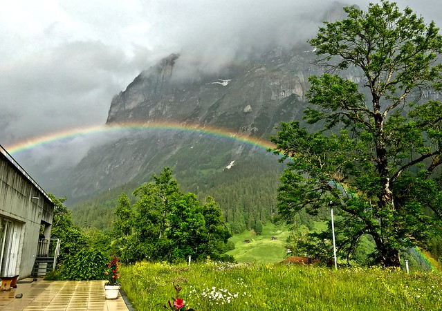 Rainbow clad Swiss countryside