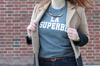 "La Superbe outfit: Madewell et Sézane ""La Superbe"" sweatshirt, skinny jeans, Jeffrey Campbell ""Cast & Crew ankle boots,"" Madewell wooden collar necklace, Madewell ""Colorblock Streetcar coat,"" Noir jewelry Dinosaur bone rib cage cuff bracelet 