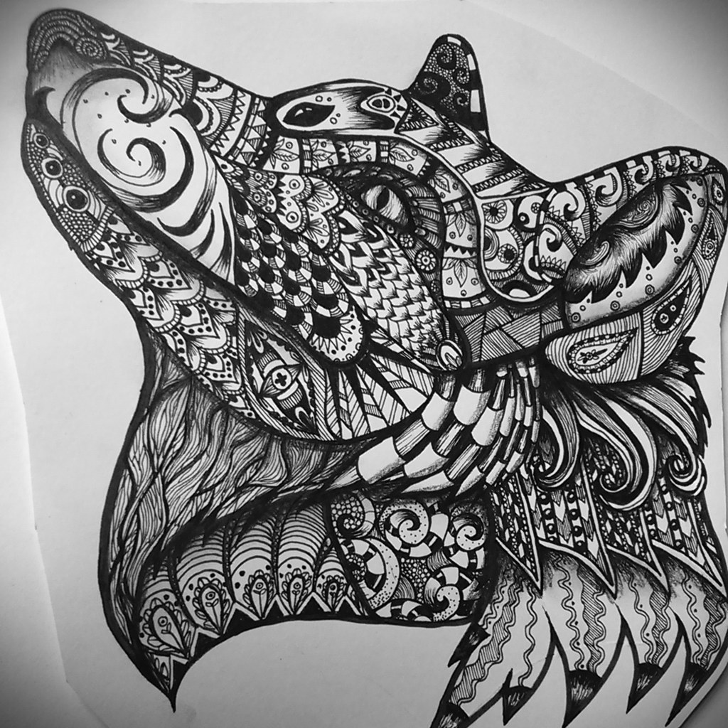 Zentangle foxwolf ink and pencil hayley shaw flickr zentangle foxwolf ink and pencil by hayley sue illustration gumiabroncs Images
