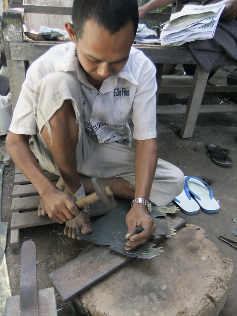 Traditional Metalwork at the Metalworker's Workshop in Mandalay, Myanmar