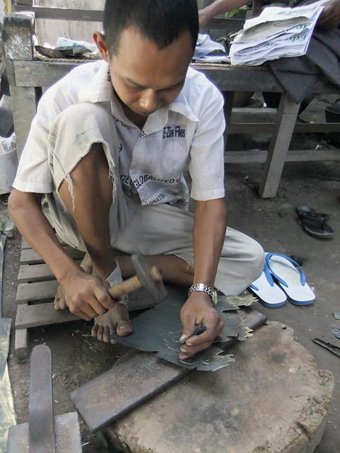 Traditional Metalwork at the Metalworker's Workshop in Mandalay, Myanmar
