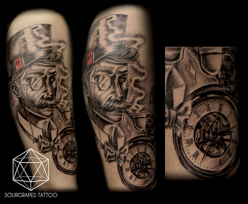 Gentleman neo traditional black and grey realistic tattoo for Traditional black and grey tattoo