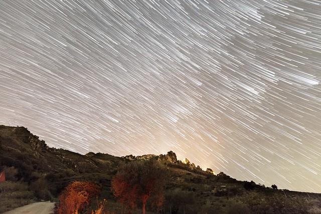 Sicilian crest in star trail. Caltabellotta, Sicily.
