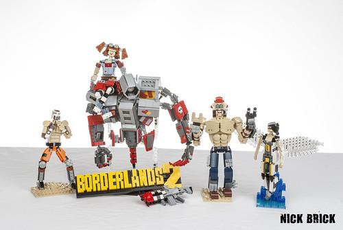 Psycho, Mechromancer class Gaige & Deathtrap, Mr. Torgue ... Borderlands Characters Brick