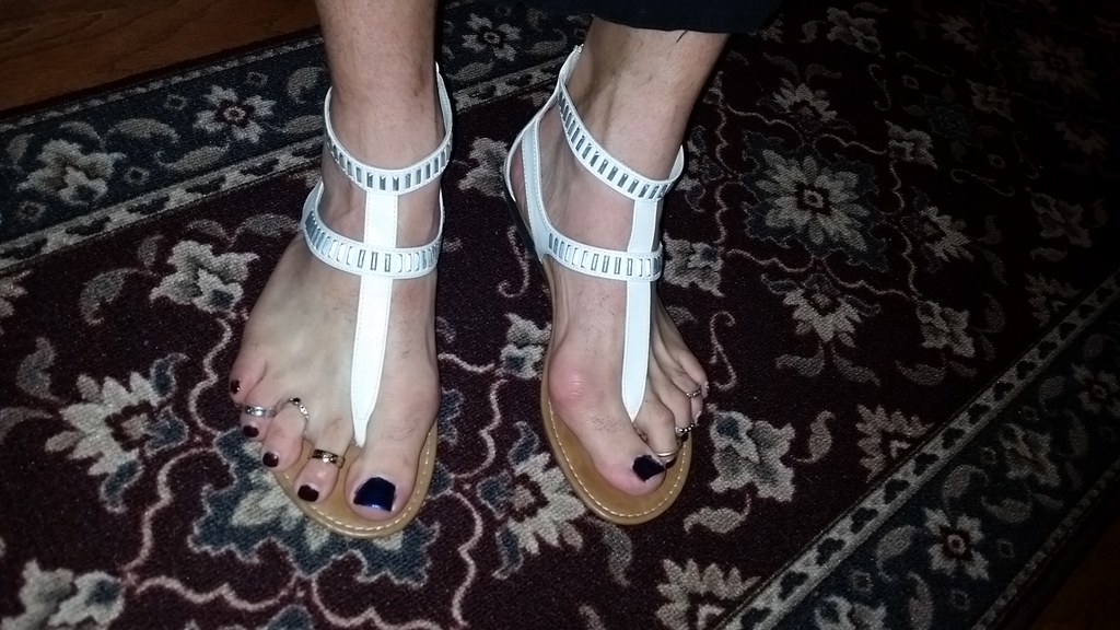 White t-strap sandals with nail polish and toe rings | Flickr